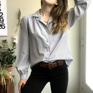 VINTAGE Powder Blue Collared Button-up Shi…